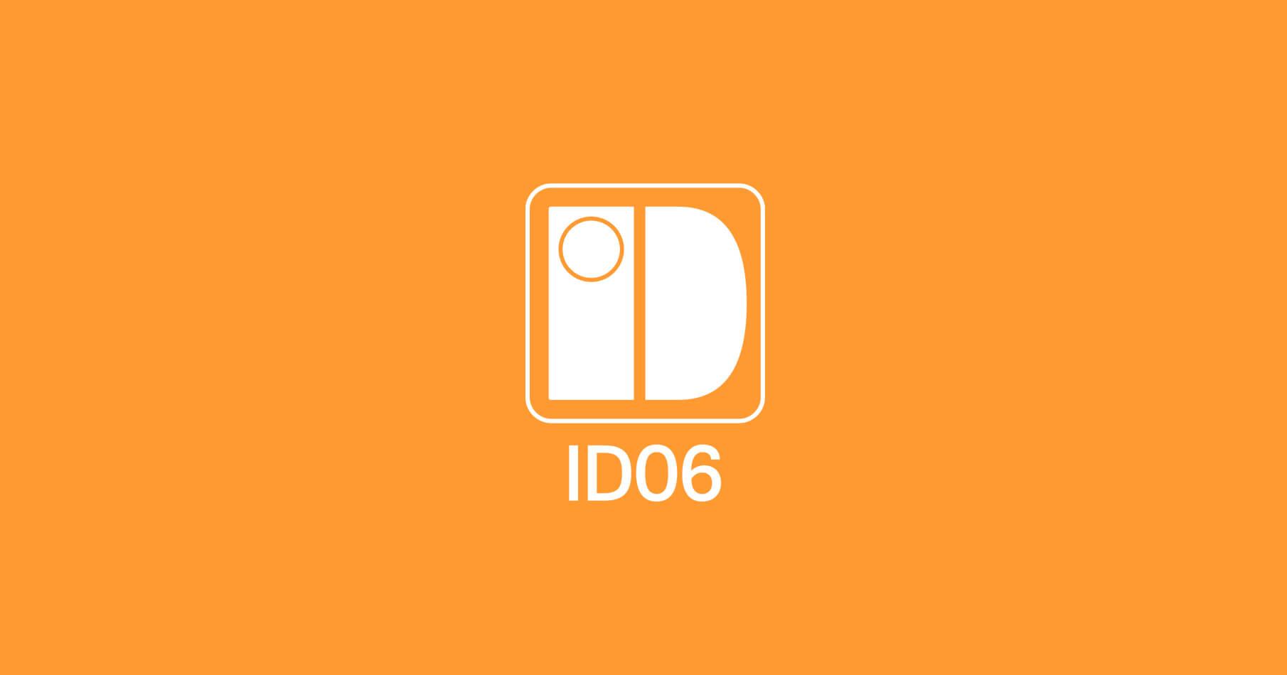 Vit ID06-logotyp på orange bakgrund